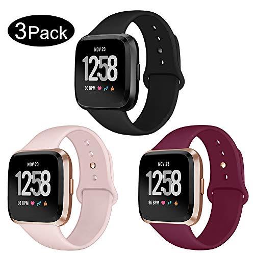 Kmasic Sport Armband Kompatibel Fitbit Versa/Versa Lite Edition, Soft Silikon Ersatz Armband Kompatibel Fitbit Versa/Lite Edition Smartwatch, Klein, 3 Pack-Schwarz/Weinrot/Sand Rosa #1