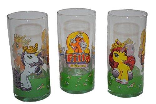 3 tlg. Set Trinkglas - Filly Pferd - Glas Becher - Trinkbecher Saftglas - Kind Kinder Mädchen Kinderglas