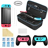 iAmer 6 in 1 Zubehör Kit für Nintendo Switch, Tragetasche für Nintendo Switch and  2 Griff für Nintendo Switch Joy-Cons and 3 Stück Displayschutzfolien