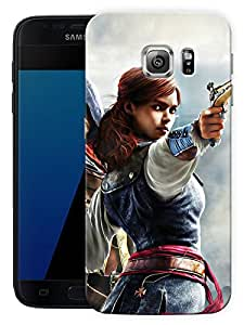 """Humor Gang Girl With Gun - Game LifePrinted Designer Mobile Back Cover For """"Samsung Galaxy S7 Edge"""" (3D, Matte Finish, Premium Quality, Protective Snap On Slim Hard Phone Case, Multi Color)"""