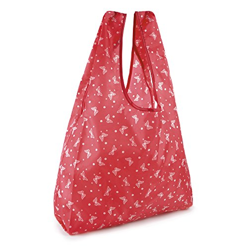 Zest donna pieghevole borsa shopping in poliestere stampato Red