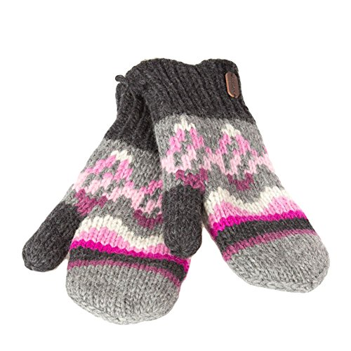 KUSAN PK1501 Pink Mitten With Sherpa Lining Hunter Gloves Fäustlinge/Handschuhe Farbe: Anthrazit/Pink Cable Knit Hat Earflap