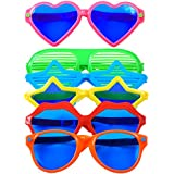 Tupa 6 Pieces Plastic Jumbo Fun Sunglasses Colorful Fun Glasses Star Heart Shaped Party Eyeglasses for Hawaiian Beach Photo Props Costume Fancy Dress Party Supplies