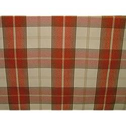 1Metre Balmoral naranja efecto de lana lavable a DE grosor diseño DE tela escocesa tapicería y cortina funda de tela