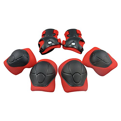 Knee Pads, Elbow Pads Wrist Guards [Upgraded Vistion 2.0] Protective Gear Set for Skateboard,Biking, Riding, Cycling and Multi Sports, Scooter, Bicycle, Rollerblades (Kids, Red)