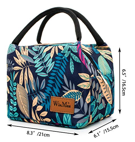 Reusable Insulated Lunch Bag by Winmax - Leaves Pattern