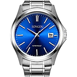 SONGDU Men's Quartz Silver Stainless Steel Bracelet Wrist Watch with Analogue Digital Date Small Blue Dial