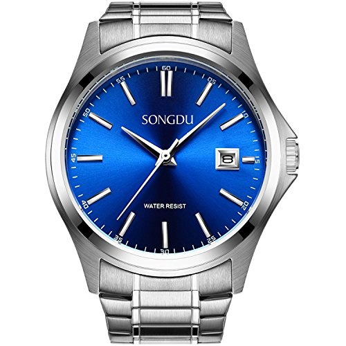Herren-uhren-elastisches Band (SONGDU Herren Einfache Quarz Silber Edelstahl-Armband Armbanduhr Mit Analog Datum Kleine Blaue Vorwahlknopf)