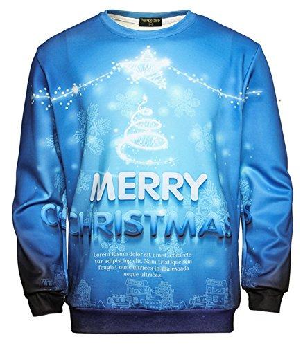 Pizoff Unisex Hip Hop Sweatshirts mit Bunt 3D Weihnachten Christmas Digital Printing Druckmuster AC017-05