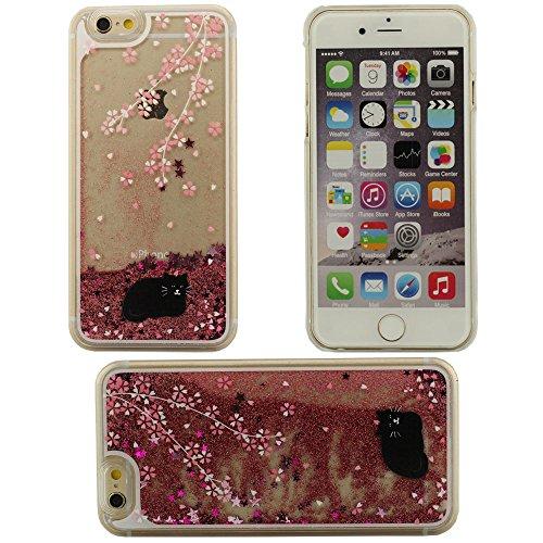Fließfähige Flüssigkeit Phosphor schwarz Katze Hartplastik Case Schutzhülle für Apple iPhone 6 plus / 6S plus Hülle 5.5 inch rot