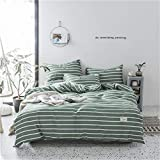 Nantongmeiwan BettwäSche,Simple Duvet Cover Set of 4 100% Washed Cotton Bedding Set Super Soft and Easy to Care-H_200*230_cm