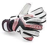 T1TAN Rebel Torwarthandschuhe mit Fingerschutz / Tormannhandschuhe mit 4mm Gecko Grip / Fußballhandschuhe mit Innennaht / Pink & Black / Größe 10