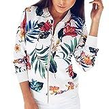 Kobay Damen Druck Langarmshirts Reißverschluss Jacke Outwear Lose Tops(Small,Weiß)