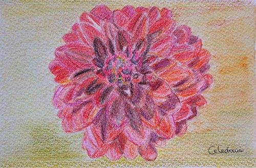 Aquarellbild und Aquarellbleistift. Dahlie Warme Töne Rot 15 x 23 cm. Einzelarbeit. Handbemalt...