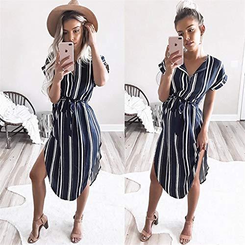 Kostüm Blue Kleid Stripe - CHZDLYQ Kleid Frauen Party Kleider Geometric Print Sommer Boho Beach Kleid Lose Fledermaus Ärmel Kleid Plus Size S Blue Stripe