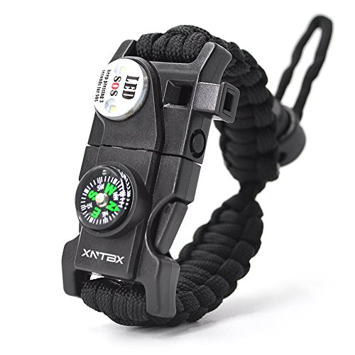 Paracord 550 Armband-Set verstellbar Survival Armband – (SOS LED-Licht, Kompass, Fire Starter, Trillerpfeife, Schaber, Messer) – von xntbx – Beste Wilderness...