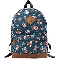 Douguyan E00133 Vintage Fashion Canvas Women's Backpacks (Blue Peony)