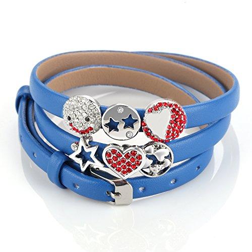 Menton ezil Kristall Schnalle Verschluss 3 Wrap Leder Gürtel Fashion Armreif Armband für Damen (Designer-sonnenbrille Fall)
