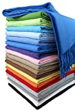STTS International Baumwolldecke Wohndecke Kuscheldecke Tagesdecke 100% Baumwolle 130 x 170 cm sehr Weiches Plaid Rio (Königsblau)