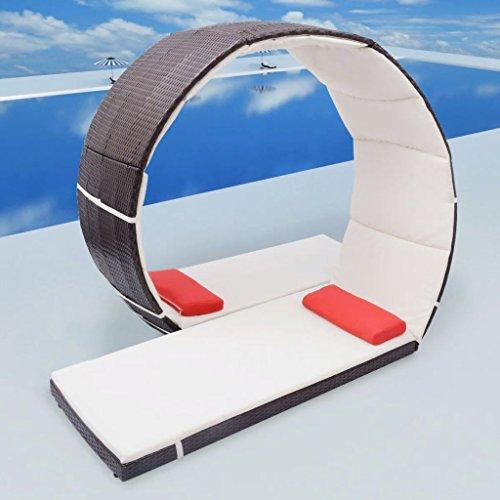 Doppel-Sonnenliege Looping-Design Poly Rattan Braun Gartensofa Lounge-Set for Garten, Terrasse und...