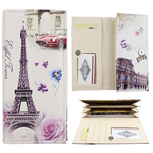 ZXK PU Leder Eiffelturm Rote Auto Frauen Geldbeutel Kupplung Brieftasche mit Karten Slots Handytasche Knopfverschluss Kupplung BrieftascheBeutel Beutel für das Telefon(weniger als 5.5 Zoll)
