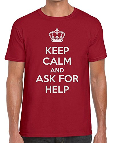 TeeDemon Keep Calm and Ask for Help - Support - Carry On - Funny - Mens Shirts - Men's Tshirt Casual T-Shirt Gift by