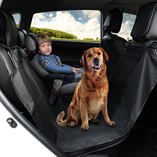 GHB Universal Waterproof Car Upholstery Protector Cover for Pet and Travel Dogs with Safety Buckle [Color-Black]