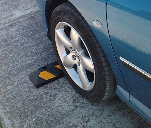 Single rubber wheel stop for parking lots and garages 55x15x10cm Test