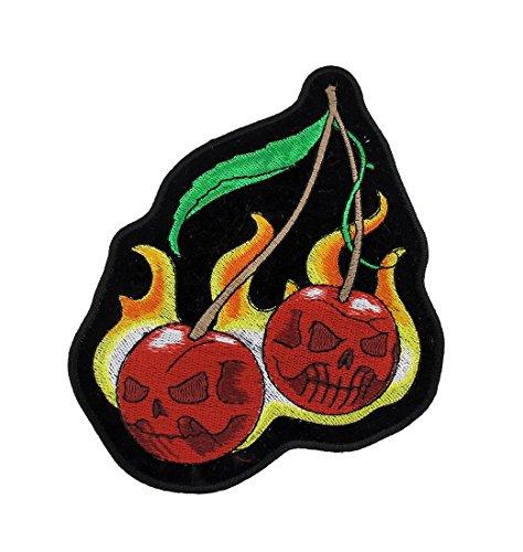 Wild ciliegie Flaming motorcycle patch Biker by Zeckos