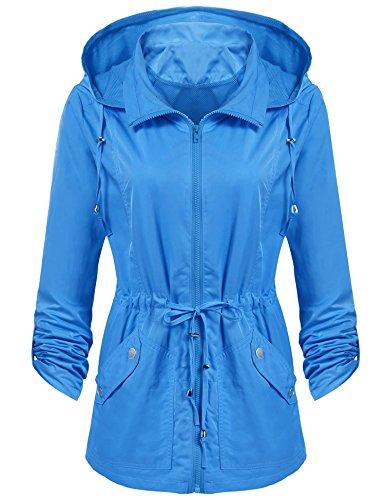 Beyove Damen Regenjacke Windbreaker Wasserdicht Regenmantel Herbst Jacke mit Anorak Kapuze
