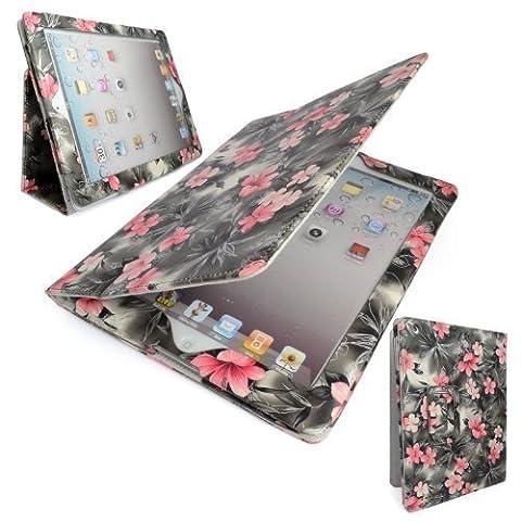 GADGET BOXX rosa und graue BLUMEN DRUCKEN ENTWURFS Stil PU-Leder Tasche für Apple iPad 2 iPad 3 und iPad 4