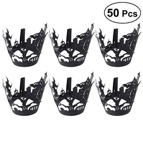 YeahiBaby 50 Stücke Papier Cupcake Wrappers Kuchen Pappbecher Muffin Verpackungen für Halloween Geburtstag Party DIY (Schwarz)