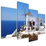 Kunstdruck - Griechische Mühle - Bild auf Leinwand - 120x80 cm 4 teilig - Leinwandbilder - Bilder als Leinwanddruck - Urlaub, Sonne & Meer - Mittelmeer - Griechenland - Mühle in Santorini