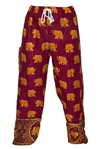 Mr.Bangkok Harem Pantalon - Pantalon Aladdin Hippie avec taille coulissée (Elephant Red - Gold)