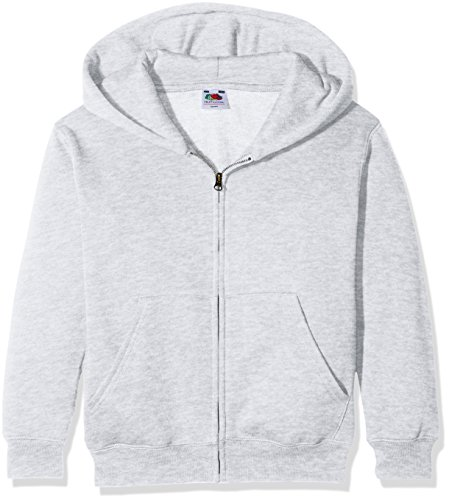 Fruit of the loom Jungen Kapuzenpullover Premium Hooded Sweat Jacket Kids, Grau (Heather Grey 123), 140 (Herstellergröße: 9-11)