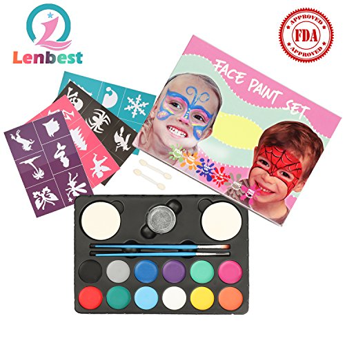 (Lenbest Kinderschminken Schminkfarben, 12er Schminkset Kinder Wit 1 Glitzer, 2 Pinsel, 2 Schwämme, 2 Lidschatten-Sticks und 24 malerschablonen - Kinder Parties Halloween Karneval Make-up Bodypainting)