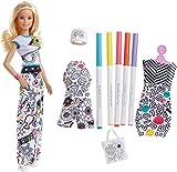 Barbie Fashionistas poupée Crayola Style Coloriage blonde avec cinq feutres de couleurs et trois tenues à colorier, jouet pour enfant, FPH90...