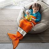 PLYY Kinder-Mädchen Mermaid Schwanz Blanket Strickte Decken Weich und Warm für Schlafsofa Wohnzimmer (140 * 70cm), 70x140cm