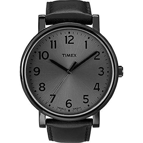 Timex T2N346AU - Reloj de cuarzo unisex, correa de piel, color negro