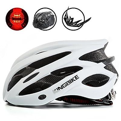 KING BIKE Cycle Helmets, with Helmet Rain Cover/Detachable Visor/Safety Rear Led Light/Lightweight/Comfortable/Adjustable Size from KING BIKE