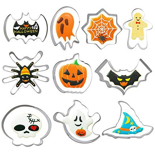 Halloween-Ausstechformen-Set, 10-teilig, Kürbis, Fledermaus, Geist, Hexenhut, Spinne, Spinnennetz, Totenkopf und Skelett