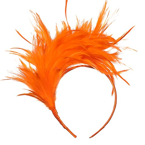Coucoland 1920s Haarreif Feder Fascinator Damen Gatsby Cocktail Party Fascinator Englische Tee Party Accessoires (Orange)