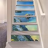 Treppenaufkleber Schöne Blaue Meer Golf Diy 6 Teile/Satz Schritte Aufkleber Abnehmbare Treppe Aufkleber Wohnkultur Landschaft Kreative Dekoration