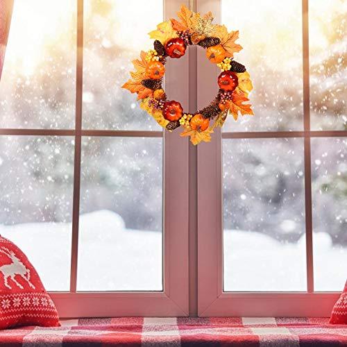 Herbstkranz Haustür DIY Tannengirlande 35cm Girlande mit Kürbis Beeren Künstlich Blumen Türkranz Deko für Herbst Thanksgiving Weihnachten Party