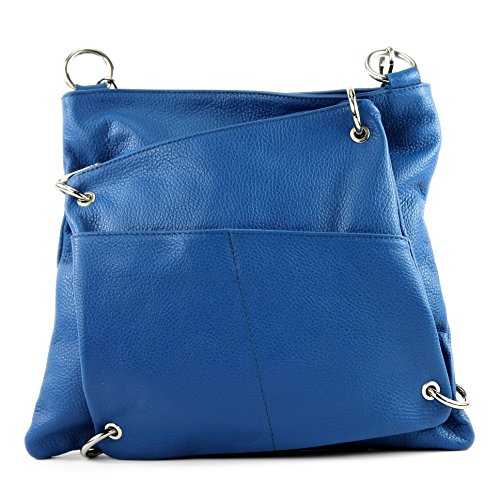 modamoda de - ital. Ledertasche Damentasche Messengertasche Umhängetasche 2in1 Leder T140 Blau