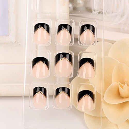 Kit de 24 pcs ongles en acrylique Noir Angle French Nails Beige 24 pcs ongles en acrylique Prédéfinies Z240
