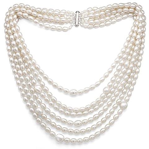 Argent sterling 6-rows 3–3,5mm, 6–6,5mm, et 10–10.5mm Blanc Collier de perles de culture d'eau douce, 45,7cm