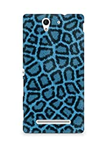 Amez designer printed 3d premium high quality back case cover for Sony Xperia C3 D2502 (Leopard Hide Blue)