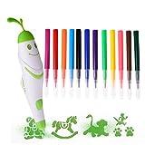Luerme Airbrush Drawing Pen, Kinder Malen und Zeichnen Kit Spray Art Waschbar Marker Kit für Kinder Zeichnen mit 12 Farben Waschbar Ink & 5 Muster (Grün)