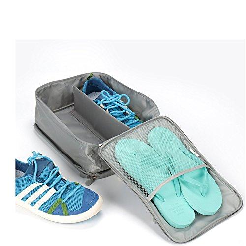Amoyie 4er Set Multifunktionale Schuhtasche Tasche zur Trennung von Schuhen Wasserfeste Schuhbeutel Schuhsack Tasche für Schuhe, Reisezubehör, Weinrot und Grün Grau